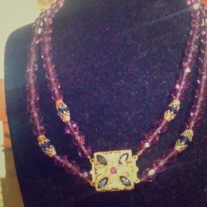 Purple and Gold toned Glass Beaded Necklace